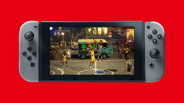 Mock-up of Switch running NBA Playgrounds on handheld mode.